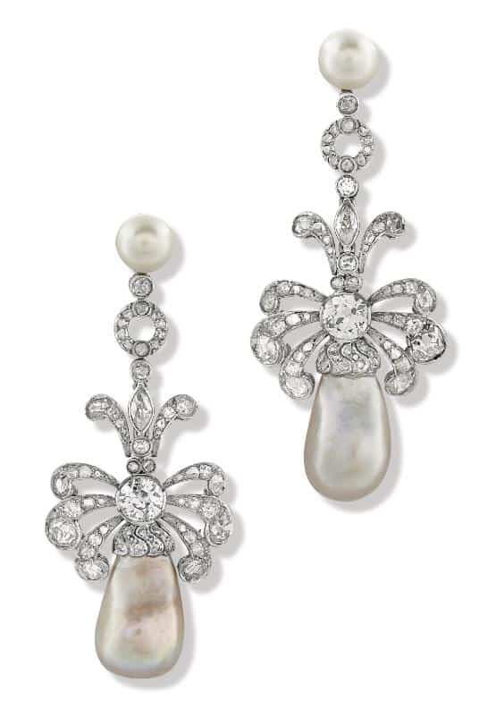 Lot 39 - A Pair of Important Platinum Ear Pendants Set With Diamonds and Pearls