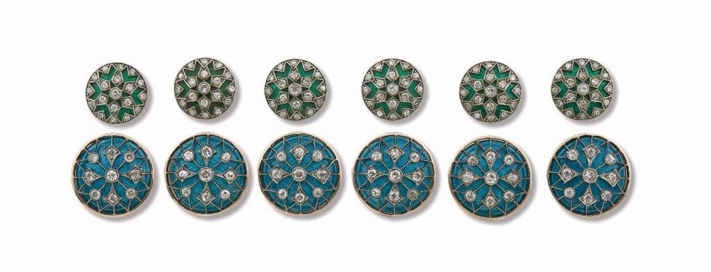 Lot 8 - Set of 12 Vintage Diamond Sherwani Buttons, circa 1940s