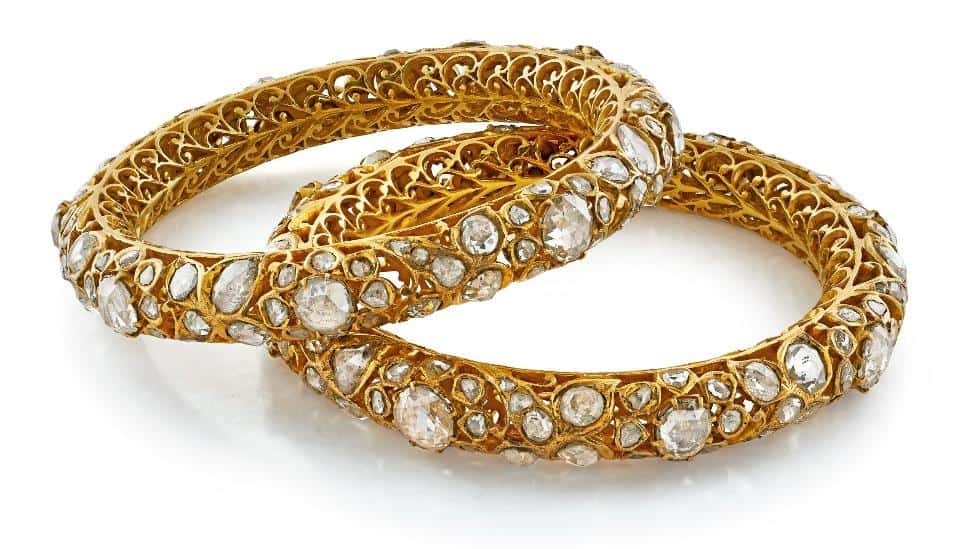Lot 14 – A Pair of Vintage Gold and Diamond Kadas, Circa 1920