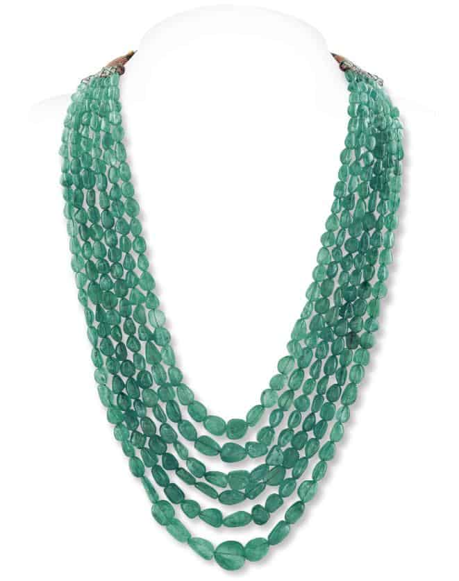 Lot 1 - A COLOMBIAN EMERALD TUMBLE BEAD NECKLACE