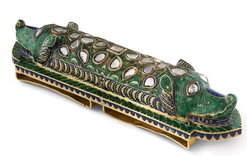 Lot 10 - An Enamelled and Diamond-Set Makara-Head Slide, circa 1890