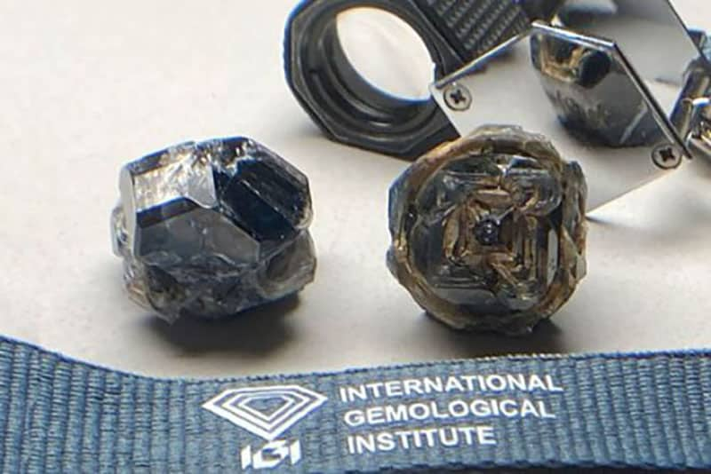 109.58 carats and 115.65 carat lab grown type 2b black diamonds