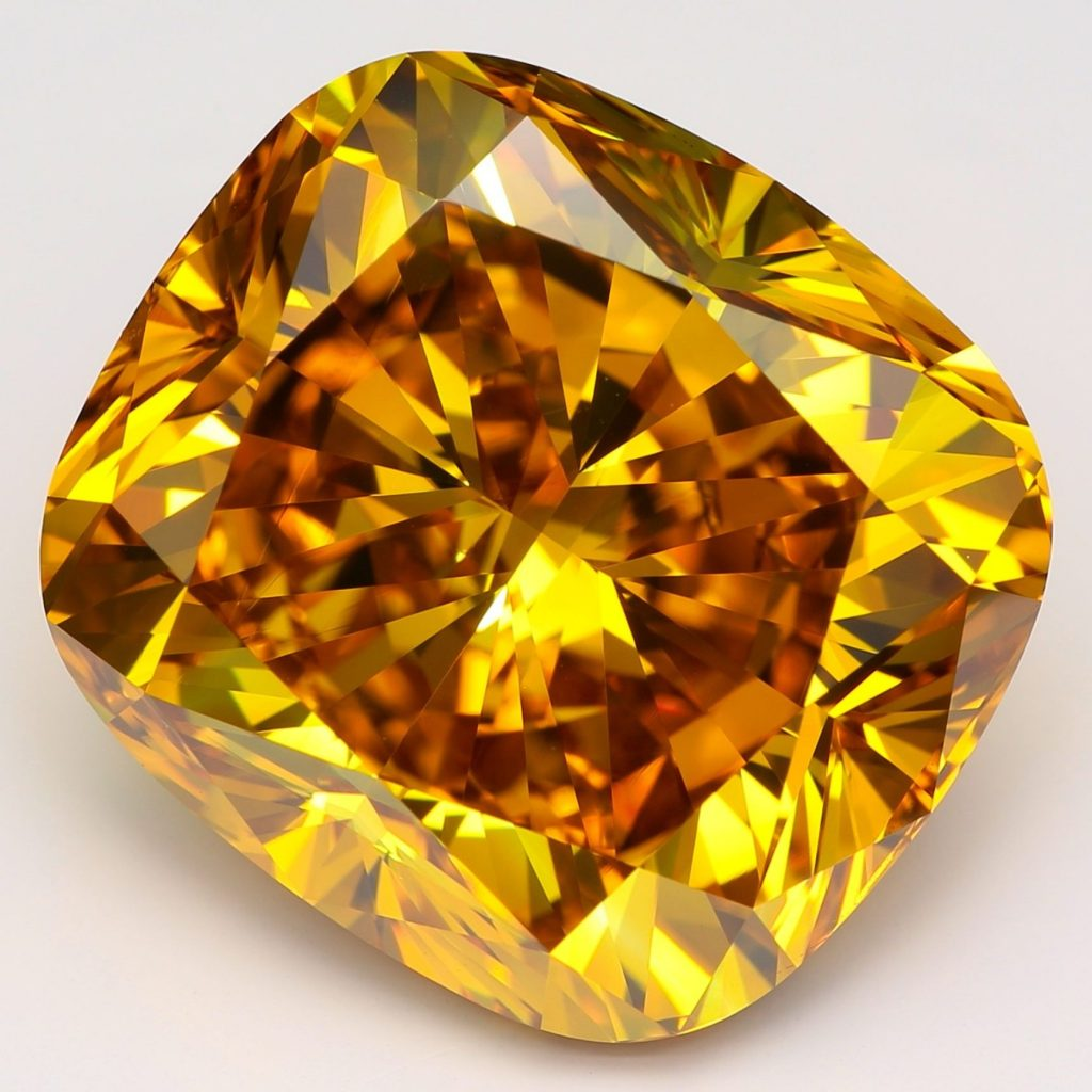 20.23-carat fancy-vivid yellowish-orange VS1-clarity cushion-cut lab-grown diamond