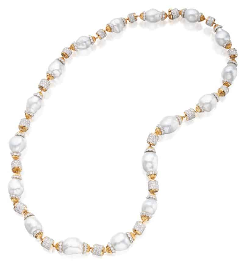 Lot 247 - David Webb Diamond and Baroque Cultured Pearl Sautoir