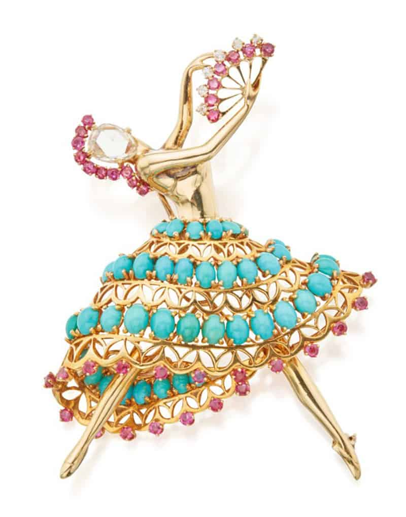 Lot 184 - John Rubel Co. Turquoise, Ruby and Diamond 'Ballerina' Brooch