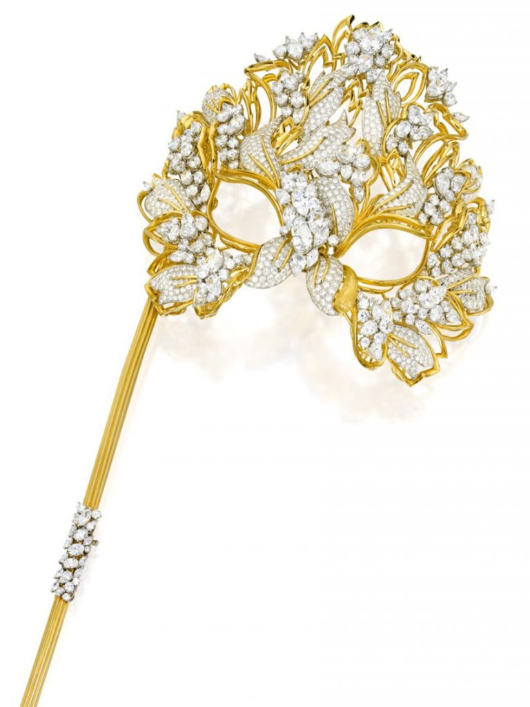 Lot 165 - Henry Dunay Gold, Diamond and Simulated Diamond Lachrymosa Mask