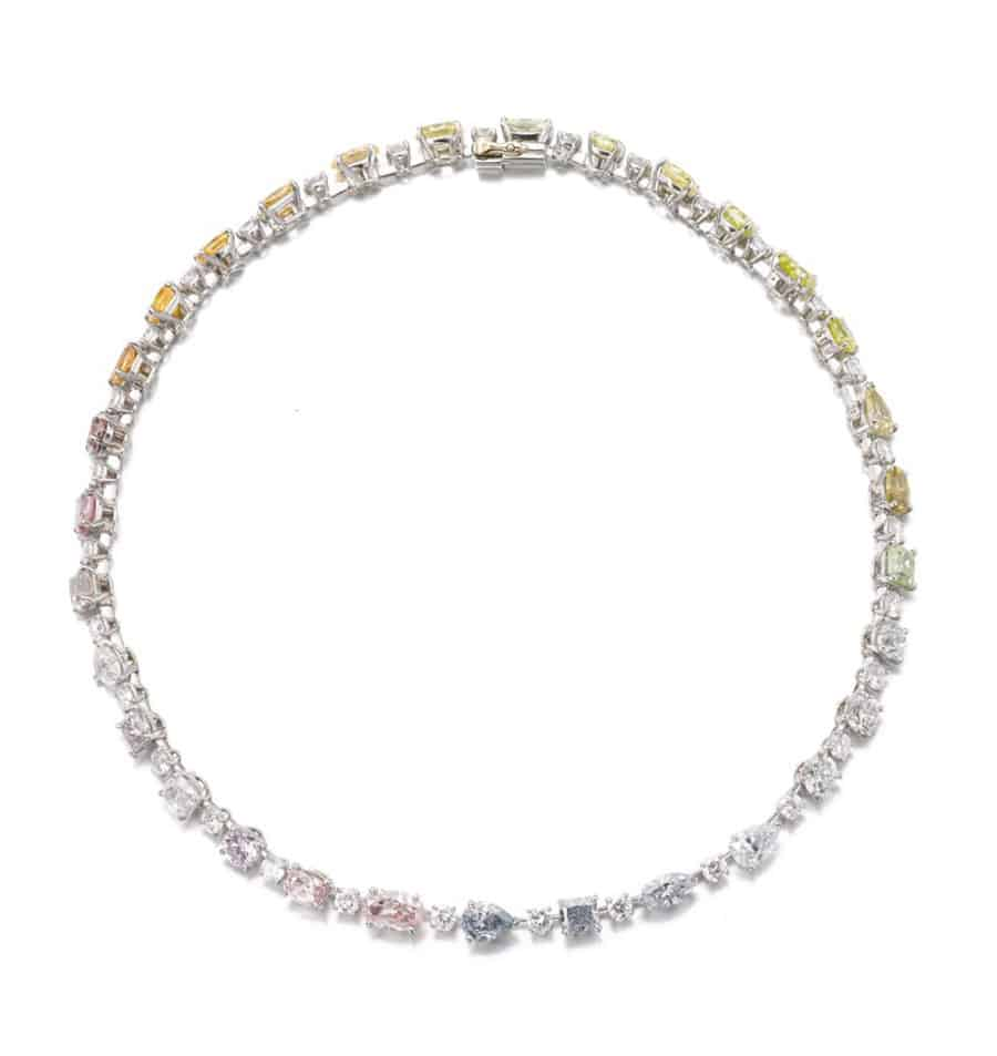 Lot No. 196 and titled IMPORTANT FANCY COLOURED DIAMOND NECKLACE