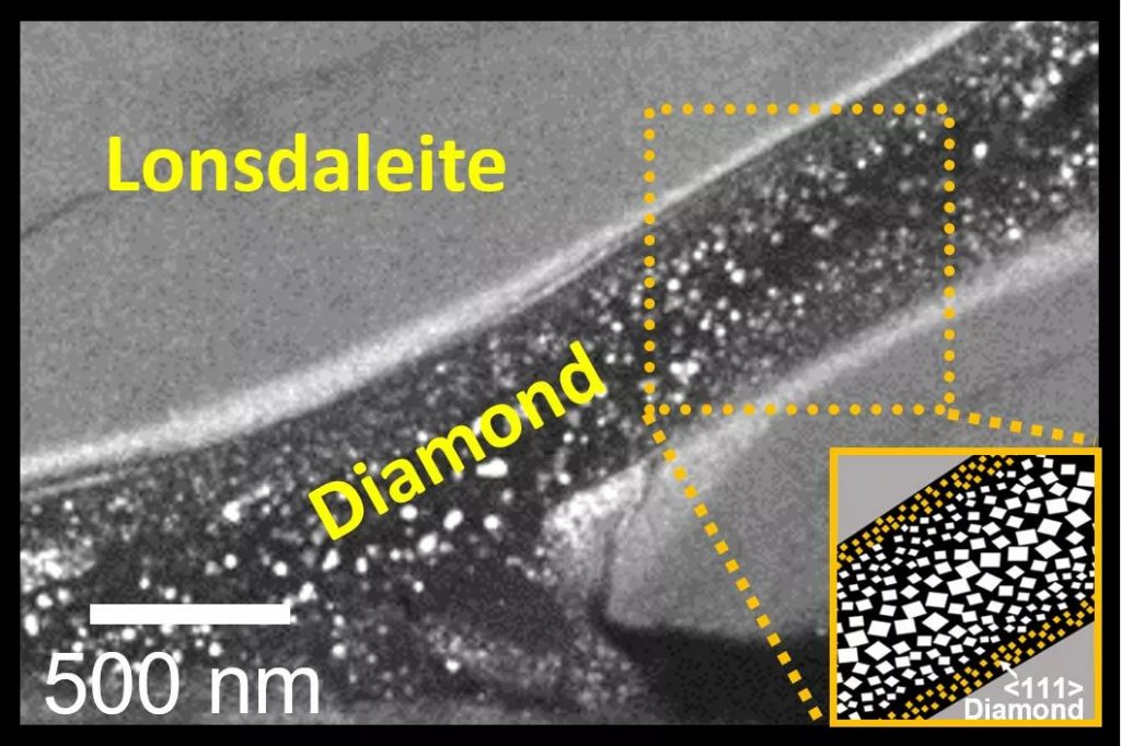 Electron Microscope image showing a river of diamond in a sea of lonsdaleite