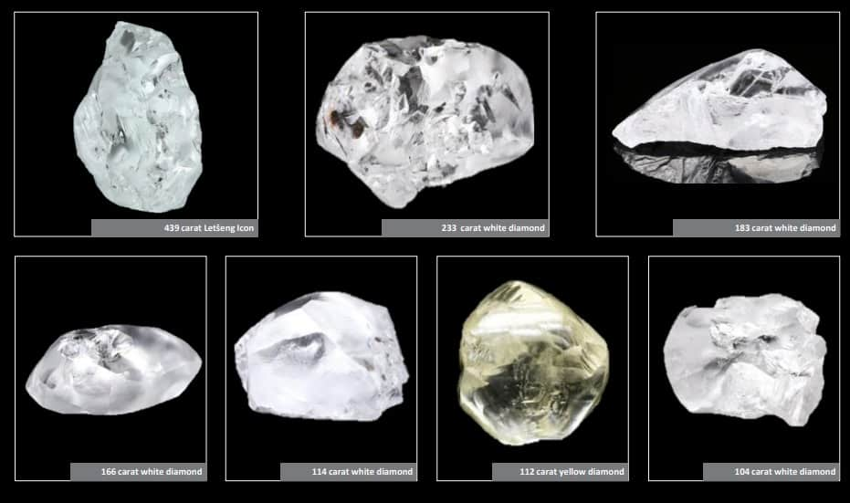 7 of the 16 diamonds greater than 100 carats recovered last year at the Letseng Diamond Mine last year.