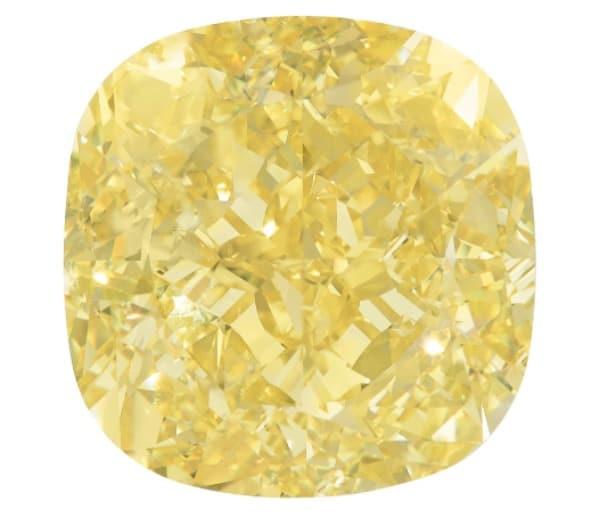 204.36-carat fancy intense yellow cushion modified brilliant-cut dancing sun diamond