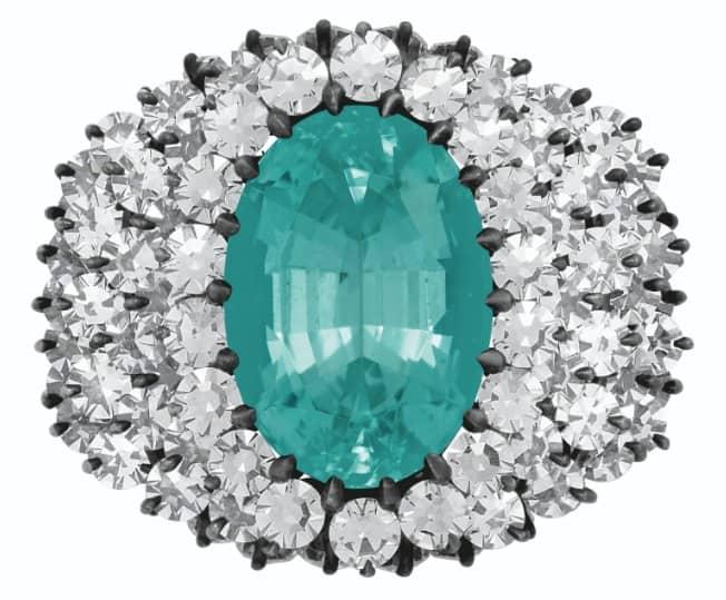 JAR TOURMALINE AND DIAMOND RING