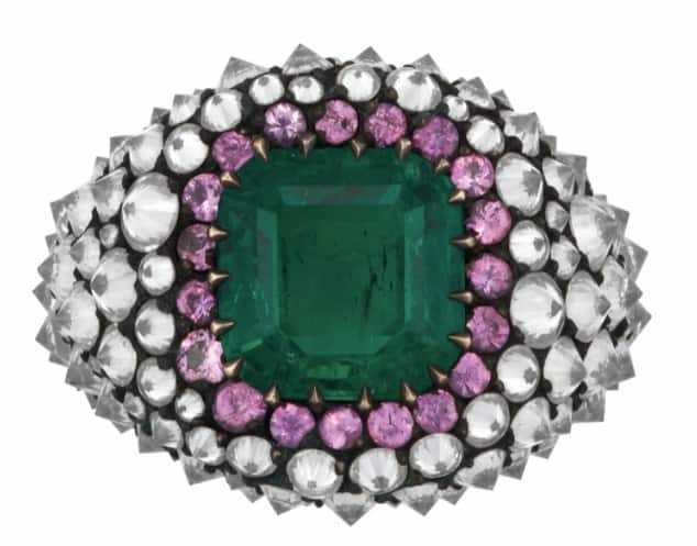LOT 151 – JAR EMERALD, COLORED SAPPHIRE AND DIAMOND RING