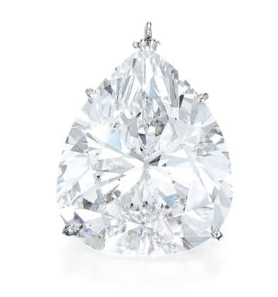 Lot 95 pendant set with pear shaped diamond weighing 29.84 carats