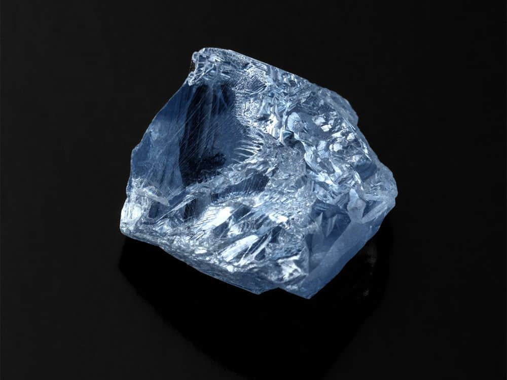 Another view of the 39.34 carat type IIb blue rough diamond