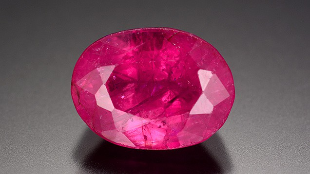 The 3.53-carat laboratory-grown ruby treated with lead-glass filling